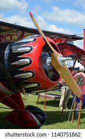 Oshkosh, Wisconsin / USA  - July 24, 2017: Jack Links The Screamin' Sasquatch Waco from John Klatt Airshows at AEE Airventure 2017