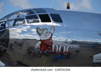 Oshkosh, Wisconsin / USA  - July 25, 2017: Warbird B-29 named Doc