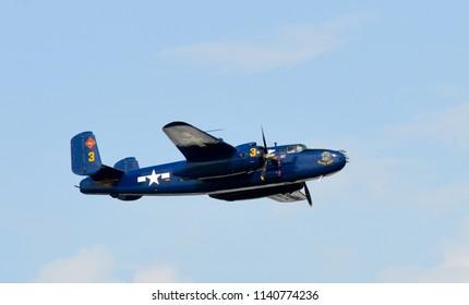 Oshkosh, Wisconsin / USA  - July 25, 2017: EAA AirVenture B-25 Devil Dog WWII Bomber warbird