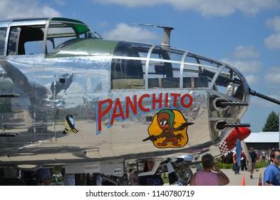 Oshkosh, Wisconsin / USA  - July 25, 2017: Vintage WWII Mitchell Bomber Warbird Panchito
