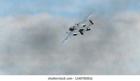 "Oshkosh, Wisconsin / USA  - July 25, 2017:Experimental Aircraft Association Airshow B-25 ""Panchito"" WWII Bomber Warbird"