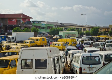OSHODI - MAY 20: Used taxis are displayed for sale at the Oshodi  market on May 20, 2016. Oshodi market is located  Southwestern Nigeria. It is one of the largest markets in the Lagos  metropolis.