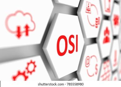 OSI concept cell blurred background 3d illustration