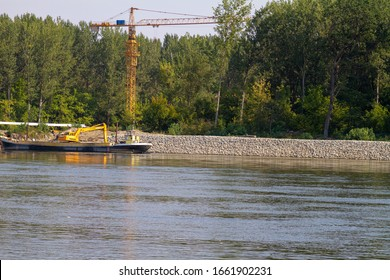 Osijek, Croatia, 08-28-2016: Riprap embankment on the Drava River