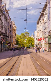 Osijek / Croatia: 10th May 2019: Street and tram lines in Osijek, region Slavonia largest city