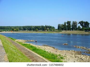 Osijek, Croatia, August 10, 2018. Drava river on sunny summer day in Croatian town Osijek in Slavonia region