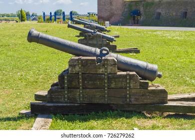 Osijek, Croatia - August 17, 2017: Cannon in Tvrdja (Citadel), the Old Town of the city of Osijek in Croatia