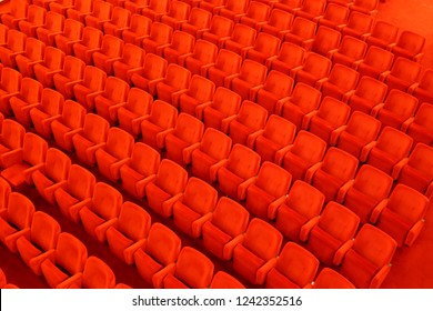 Osijek Croatia May 19th 2016 Red seats and chairs in theater