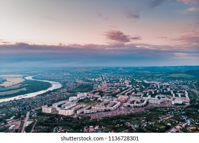 Osinniki, Aerial photography of city in Kemerovo region, city near river