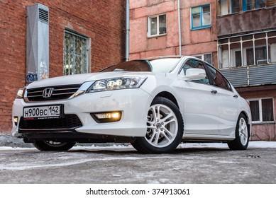 Osinniki, Russia - february 4, 2016: Car Honda Accent on street