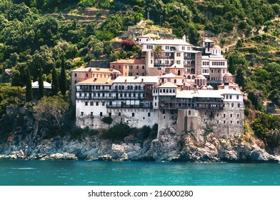 Osiou Gregoriou monastery on holy mount Athos in Northern Greece
