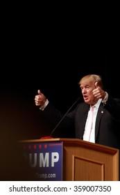 "OSKALOOSA, IOWA - JULY 25, 2015.  Donald Trump campaigns at a ""Make America Great Again"" rally"