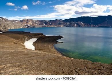 Oskjuvatn lake in interior of Iceland near Askja.