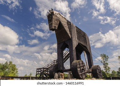 Oskowo/Poland - 07.10.2019: the world's largest Trojan horse sculpture made by a local artist