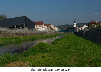Oslava river bank in Velke Mezirici city, Czech Republic - Shutterstock ID 1694251234