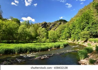 Oslava river. Beautiful landscape. Natural scenery with sky and clouds. Czech Republic, Europe. - Shutterstock ID 658432138