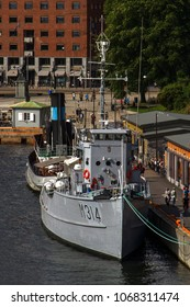 OSLO, AKERSHUS, NORWAY - JUNE 30, 2016: The M314 Alta minesweeper, a former Sauda class vessel of the Norwegian Navy, is now a floating museum in Oslo Harbour.