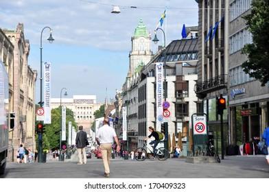 OSLO - AUGUST 16: Oslo's main street Karl Johans Gate on August 16, 2012. The street is 1,020 meters long.