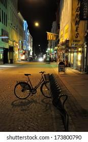 OSLO - AUGUST 16: Oslo's main street Karl Johans Gate night view on August 16, 2012. This is the main Oslo'Â?Â?s street (1,020 meters long).