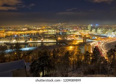Oslo by night one Winter night