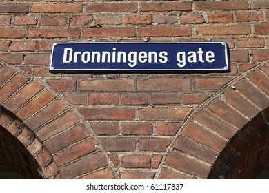 Oslo, capital city of Norway - old street name sign Dronningens Gate