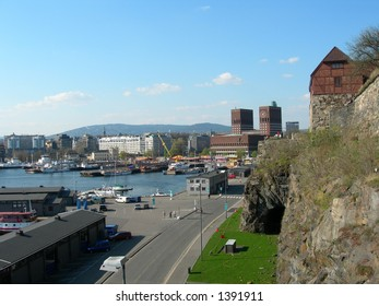 Oslo City Hall seen from Akershus fortress.