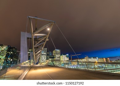 Oslo city skyline at Akrobaten pedestrian bridge and Barcode Project, Oslo Norway