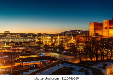 Oslo city skyline during twilight Norway