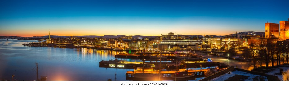 Oslo city skyline panorama during twilight Norway