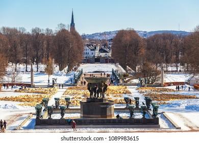 Oslo city skyline from The Vigeland Park in winter season Norway