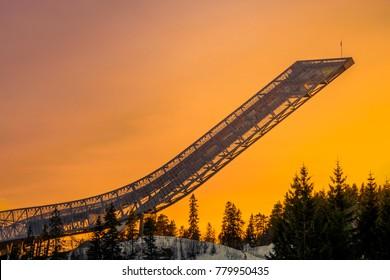 Oslo Dec 21, 2017: Holmenkollen Ski Jump Hill