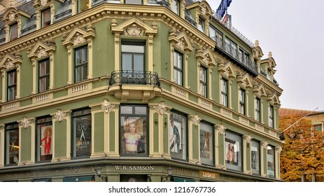 Oslo downtown. Norwegian buildings and stores. W.B. Samson store. Auster academy. Scandinavian architecture. Norway, Oslo – November 4, 2017