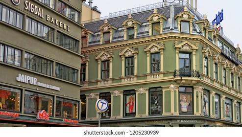 Oslo downtown. Norwegian streets with buildings and stores. W.B. Samson store. Auster academy. Sigdal Bakery. Scandinavian architecture. Norway, Oslo – November 4, 2017