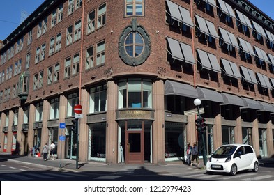 Oslo downtown in sunny day. Streets,buildings,detales. June 16,2018. Oslo,Norway