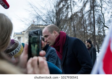 OSLO - FEBRUARY 01: William, Duke of Cambridge greets fans as he arrives at the Ingrid Alexandra Sculpture park on February 01, 2018 in Oslo.