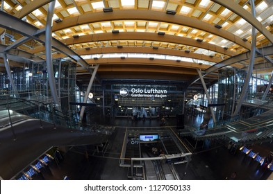 Oslo Gardermoen International Airport. The Oslo Gardermoen airport has biggest passenger flow in Norway.July 3,2018. Oslo,Norway