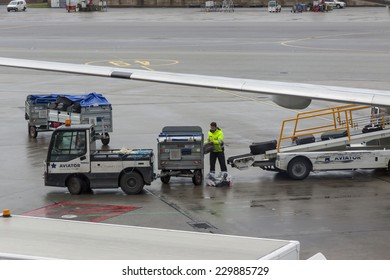 OSLO GARDERMOEN, NORWAY -  NOVEMBER 3:Aircrafts  at Oslo Gardermoen International Airport on november 3, 2014 in Oslo. The airport has biggest passenger flow in Norway.
