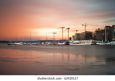 Oslo harbor in the beautifull sunrise. Norway