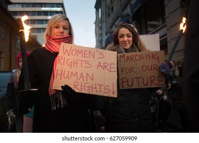 OSLO - JANUARY 21: Thousands join the Women's March Norway, one of 670 global protests on the day after the inauguration of U.S. President Donald Trump, Oslo, January 21, 2017.