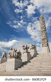 OSLO - JUNE 30: The Monolith is the highest point of Gustav Vigeland's Sculpture Park on June 30, 2009 in Oslo, Norway. The Monolith consists of 121 human figures and stands 14.12 meters (46.32 ft) tall.