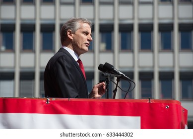 OSLO - MAY 1: Norwegian Labor Party leader Jonas Gahr Støre speaks at a May Day rally in Oslo, Norway, May 1, 2017. Gahr Støre could become prime minister if his party wins elections in September.