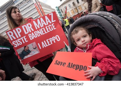 OSLO - MAY 1: Syrian refugees protest violence in Aleppo during the May Day parade in Oslo, Norway, May 1, 2016.