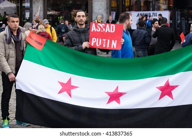 OSLO - MAY 1: Syrian refugees protest President Bashar al-Assad during the May Day parade in Oslo, Norway, May 1, 2016.
