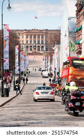 OSLO - MAY 5: Oslo's main street Karl Johans Gate with the Royal Palace in the background on May 5, 2013. The street is 1,020 meters long.