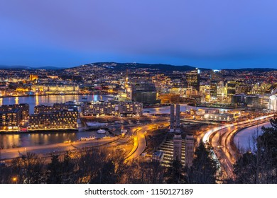 Oslo night aerial view city skyline at business district and Barcode Project, Oslo Norway
