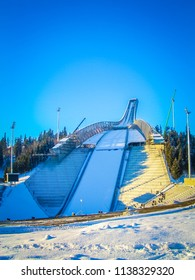 Oslo, Oslo, Norway; 01 02 2004: A winter view and awesome perspective of the Holmenkollbakken, a large ski jumping building located at Holmenkollen in Oslo, Norway, in Scandinavia, northern Europe.