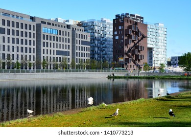 Oslo, Norway 02-05-2019: Beautiful modern buildings, Oslo's Barcode district