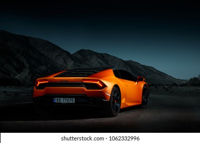 Oslo, Norway, 03.06.2016: Lamborghini Huracan. Electronic assembly with Moroccan landscape.