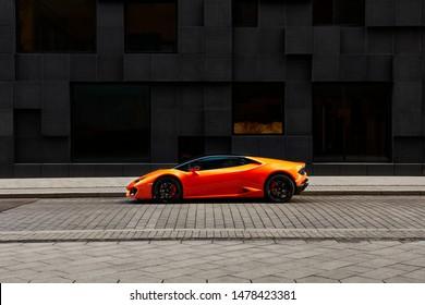 Oslo, Norway, 03.06.2016: Lamborghini Huracan in front of office building on Wismargata street
