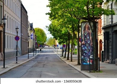 Oslo, Norway -05-10-2014: Streets of Oslo are quite empty on a sunday morning in May
